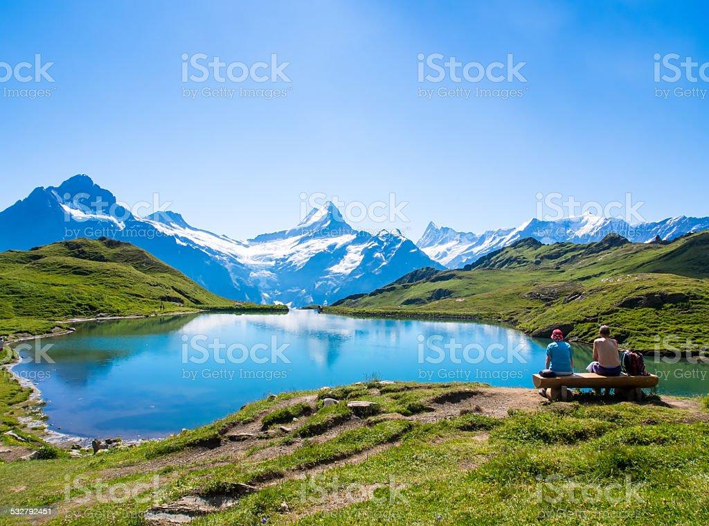 Romantic scene, reflection of the famous Matterhorn in lake, Zer stock photo