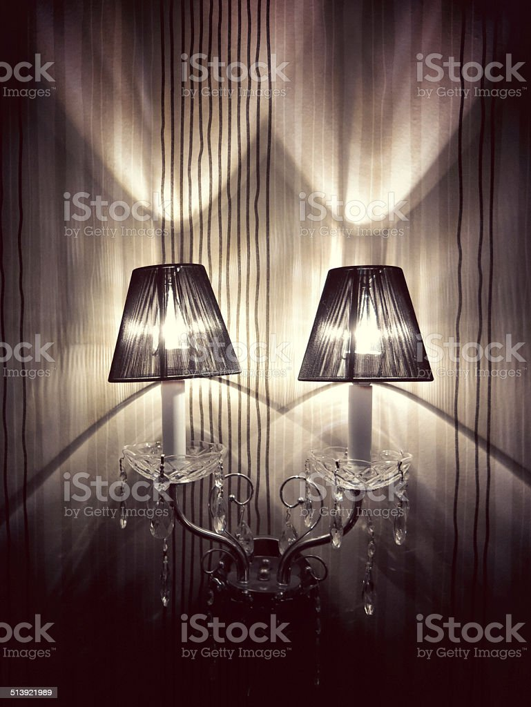 Romantic Sconce Crystal Chandelier Lights with Black Shades stock photo