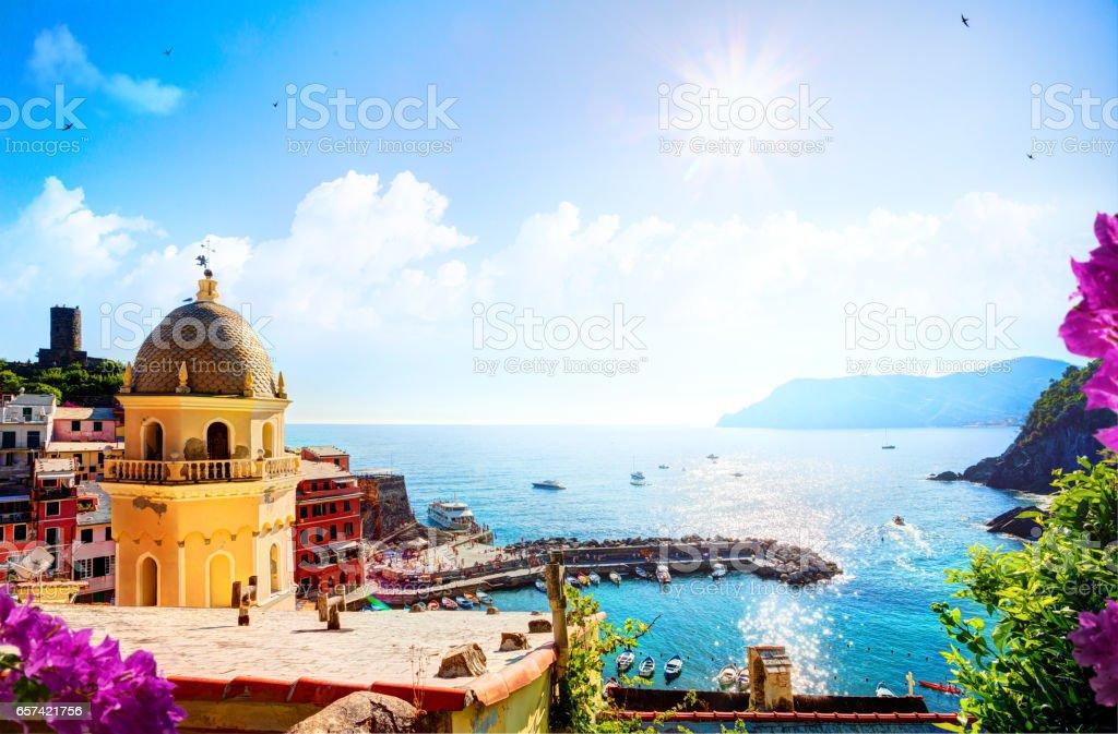 Romantic Seascape in mediterranean Italy old town;  Five lands, Vernazza, Cinque Terre, Liguria Italy Europe. stock photo