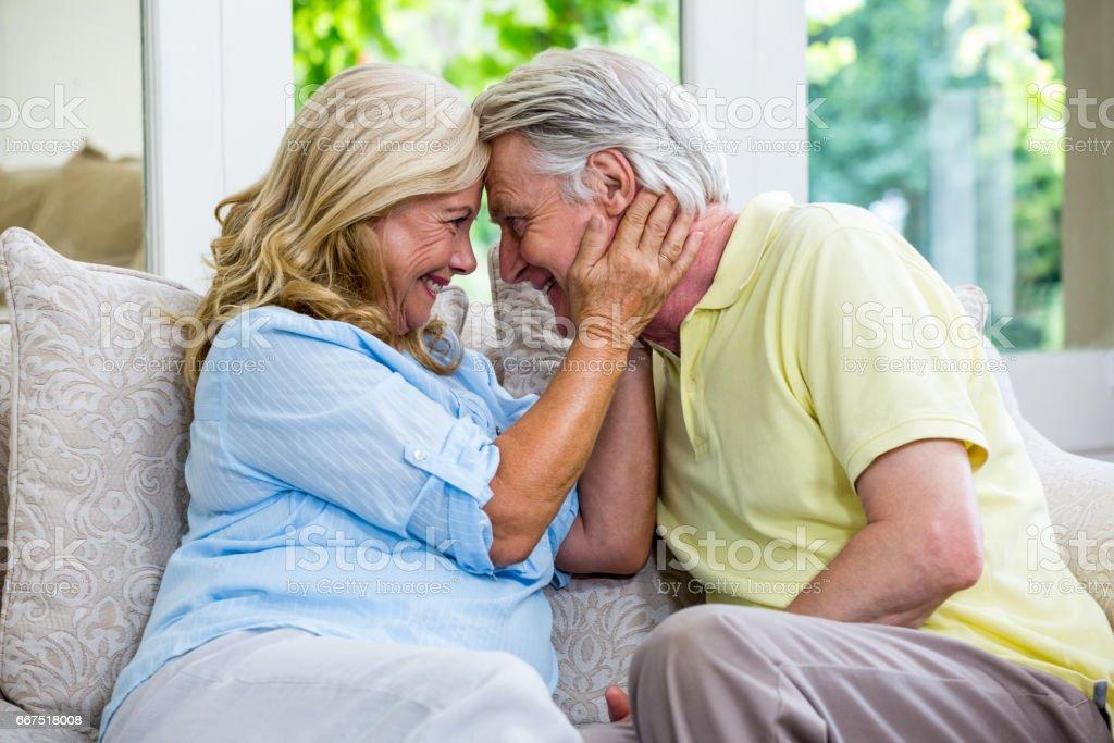 Romantic senior couple emracing at home foto stock royalty-free