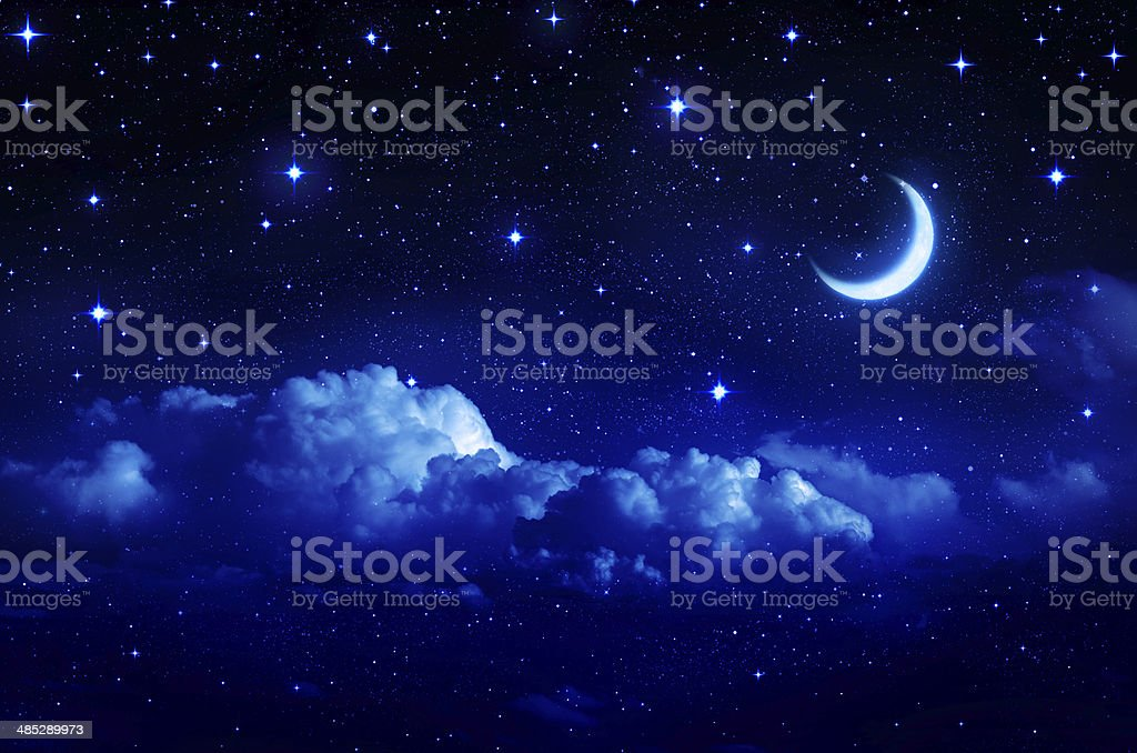 Romantic sky night for Valentine background stock photo