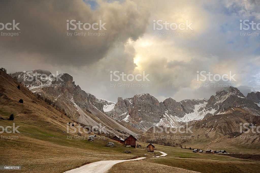 Romantic sky over the Dolomites stock photo
