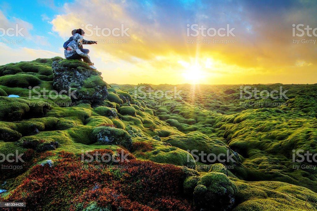 Romantic sunrise Iceland stock photo