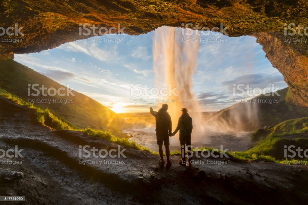 Romantic sunrise with Love in Iceland - Seljalandsfoss stock photo