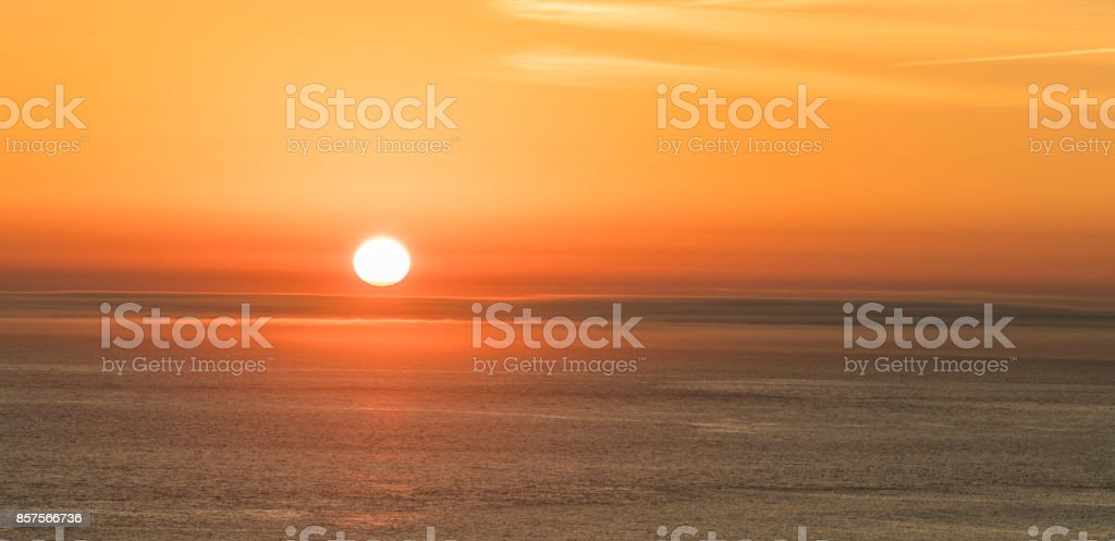 romantic sunset at the atlantic ocean seen from  Gay Head cliffs at the westernmost point of Martha's Vineyard in Aquinnah stock photo