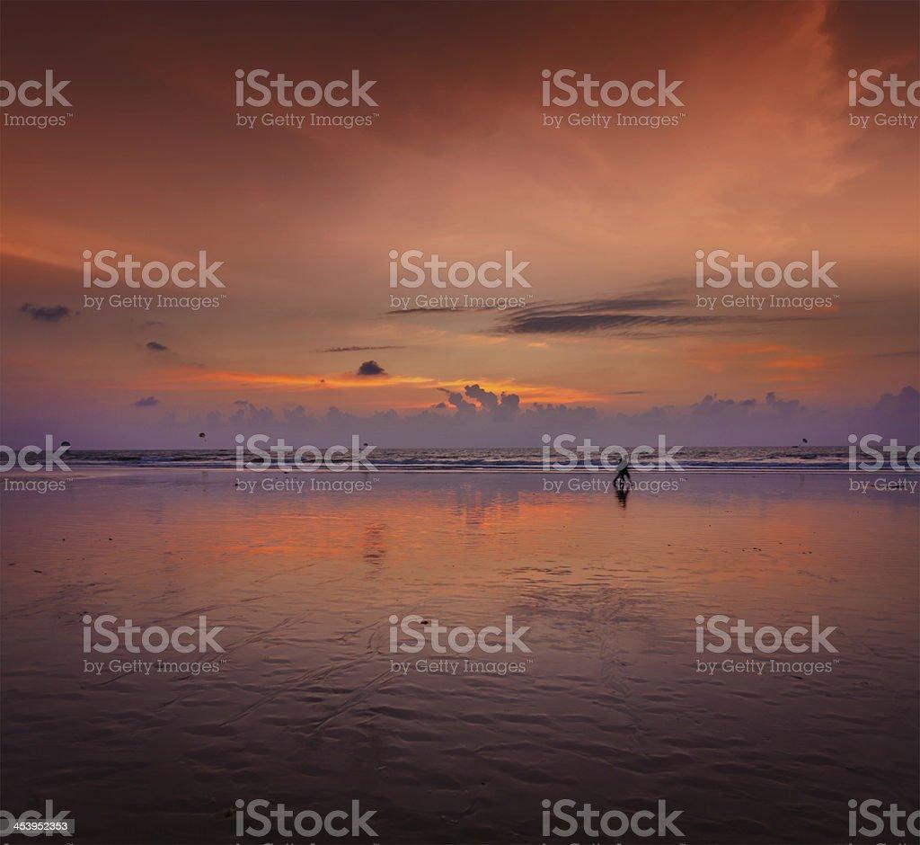 Romantic sunset,  Goa, India stock photo