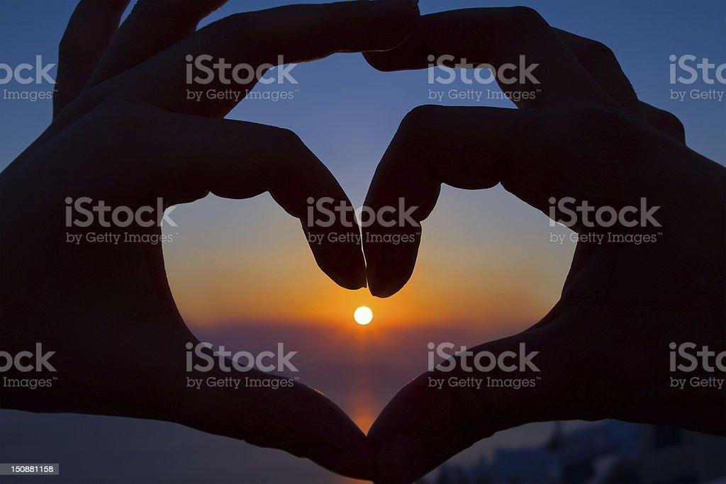 Romantic Sunset Heart stock photo