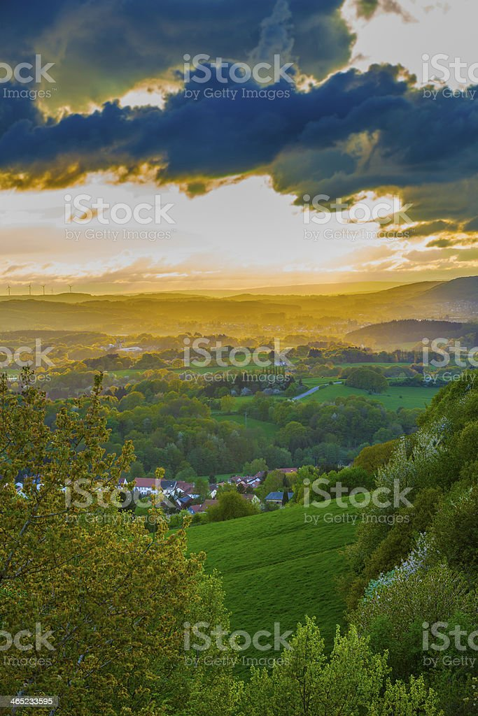 romantic sunset in Sankt Wendel stock photo