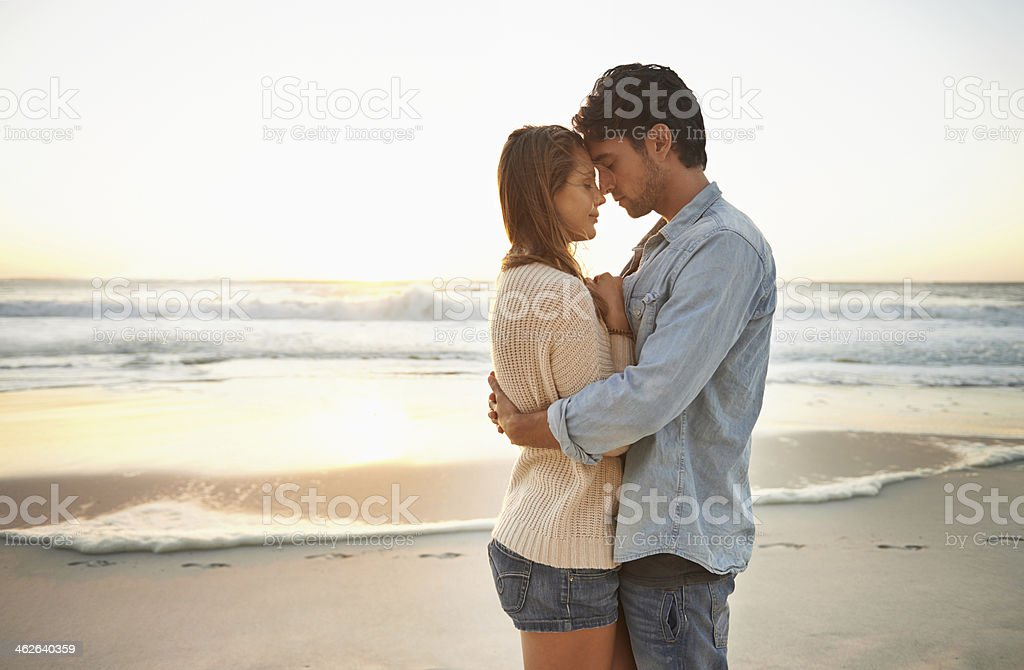 Romantic sunset moment stock photo