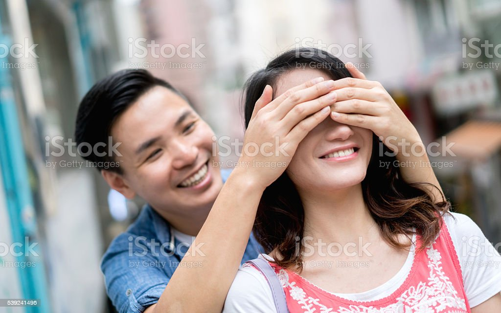 Romantic surprise royalty-free stock photo