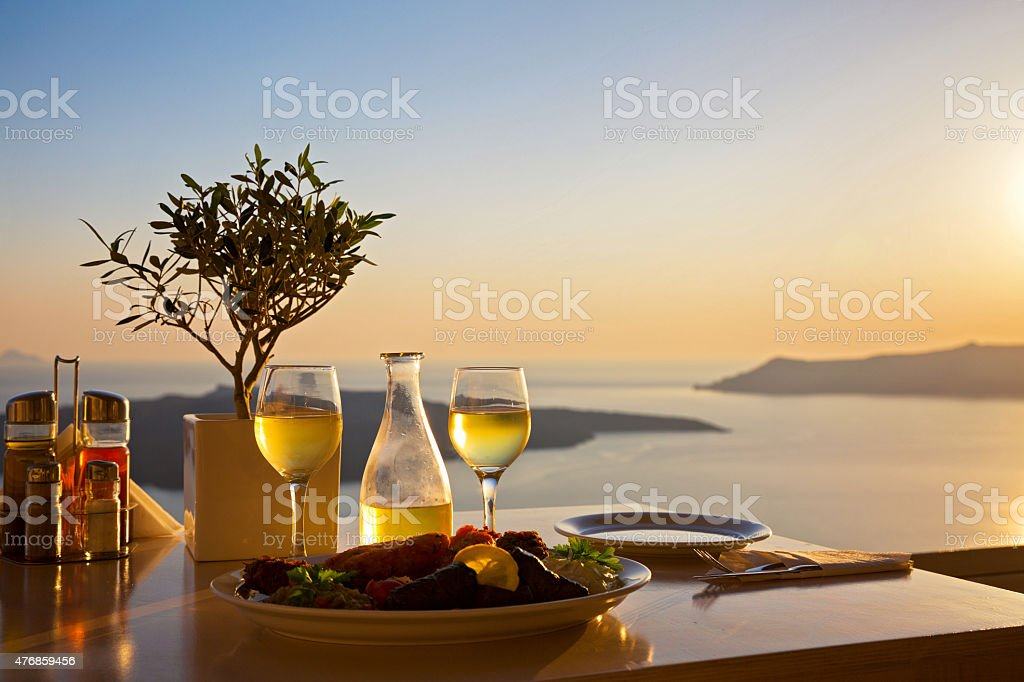 Romantic table for two on the island Santorin stock photo