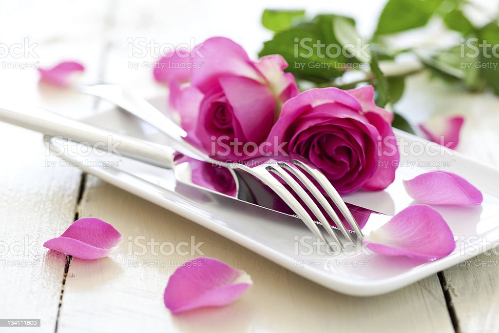 romantic table setting royalty-free stock photo