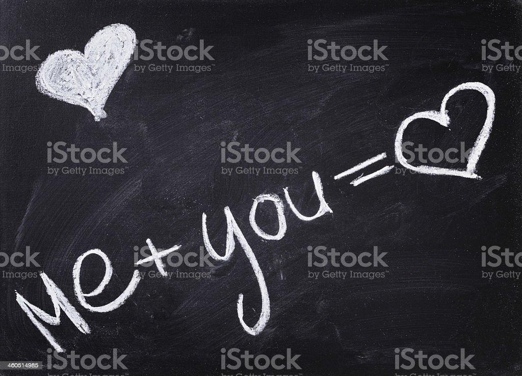 romantic text handwritten on blackboard with chalk stock photo