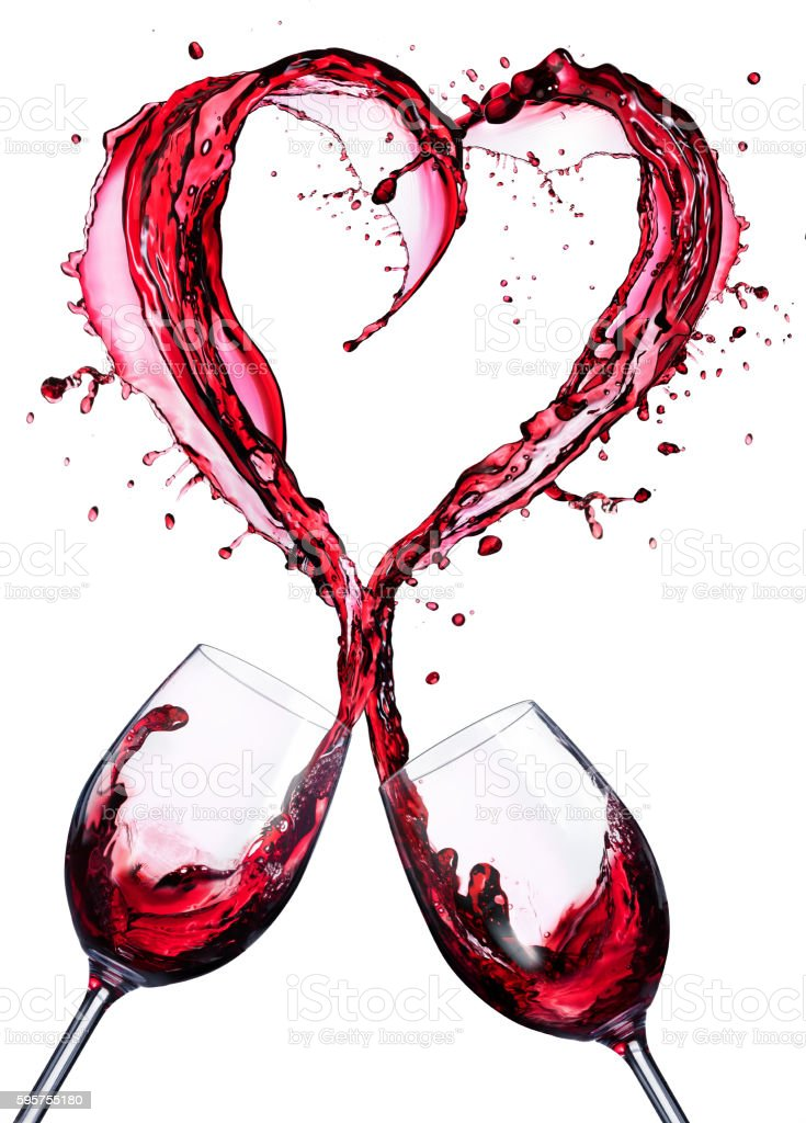 Romantic Toast Of Wine Red With Heart Shape stock photo
