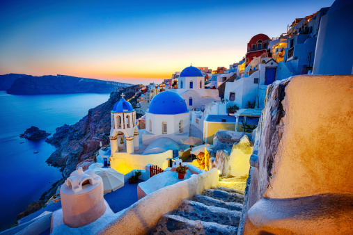 Traditional Greek village Oia (Ia) on Santorini island in dusk. Click for more images: