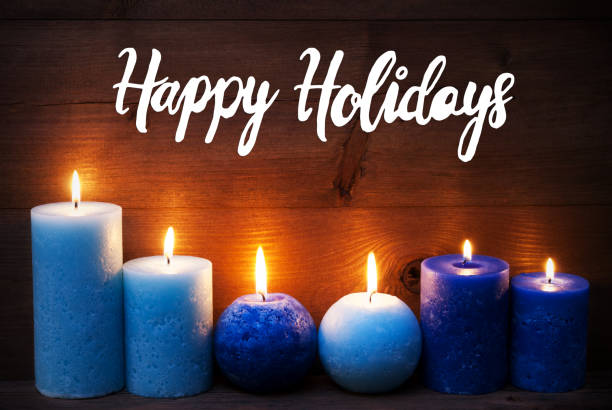 romantic turquoise candle light , text happy holidays - happy holidays stock pictures, royalty-free photos & images