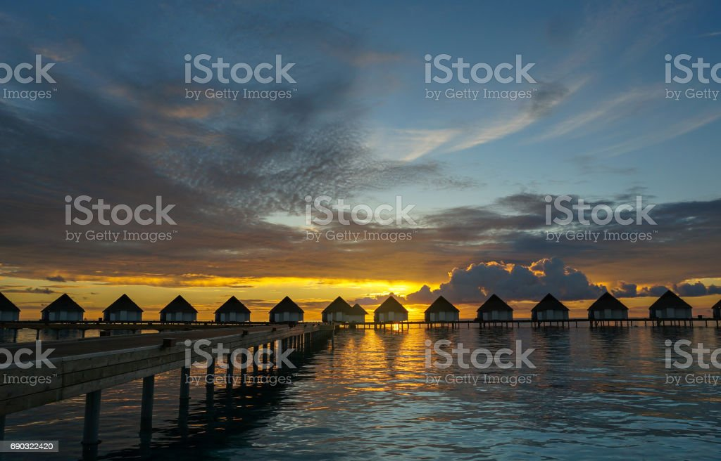 Romantic Twilight at Maldive stock photo