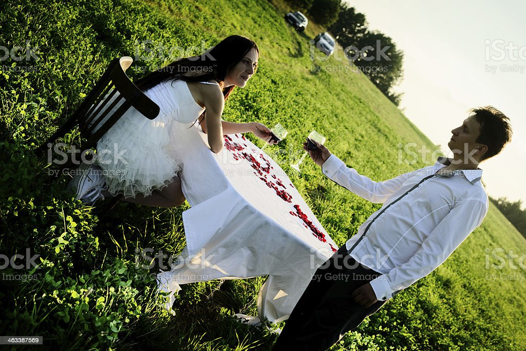 romantic unusual wedding outdoors of  loving couple in gym shoes royalty-free stock photo
