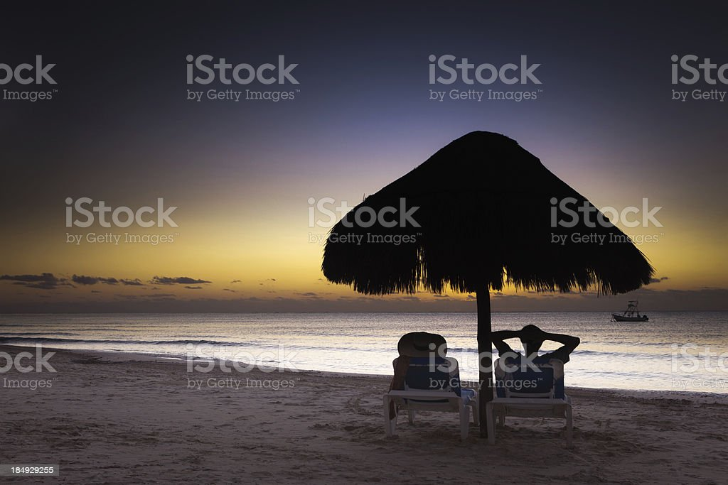 Romantic Vacation with Sunrise in Playa del Carmen Riviera Maya royalty-free stock photo