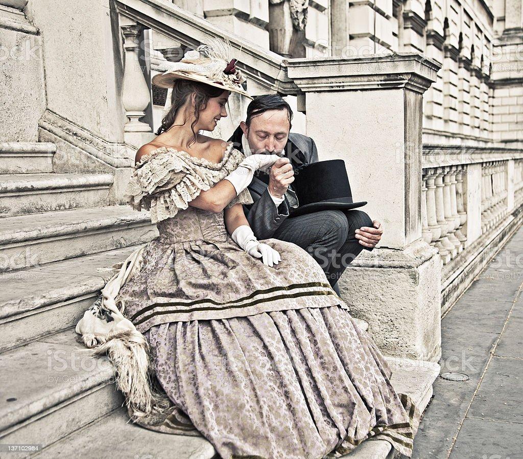 Romantic victorian couple stock photo