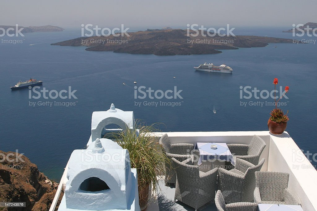 Romantic view over the caldera, volcano in Santorini royalty-free stock photo