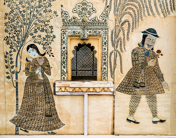 Romantic wall painting in City Palace, Udaipur, India Romantic fresco painted in City Palace, Udaipur, India udaipur stock pictures, royalty-free photos & images