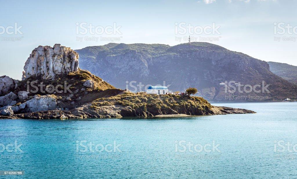 Romantic wedding on greek island stock photo