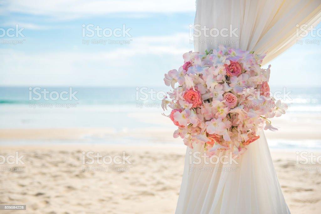 Romantic Wedding setting on the beach.