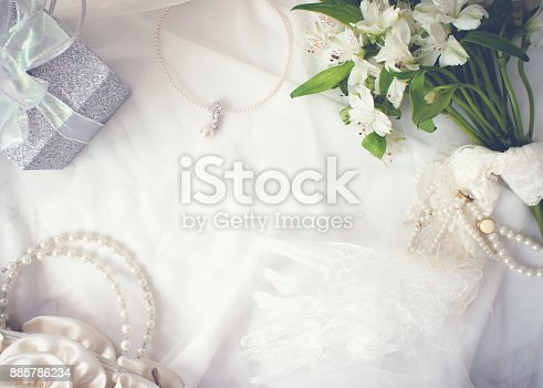 istock Romantic white background. Above view of romantic objects 885786234