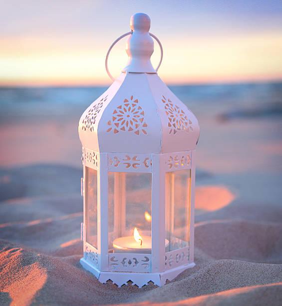 romantic white lantern stock photo