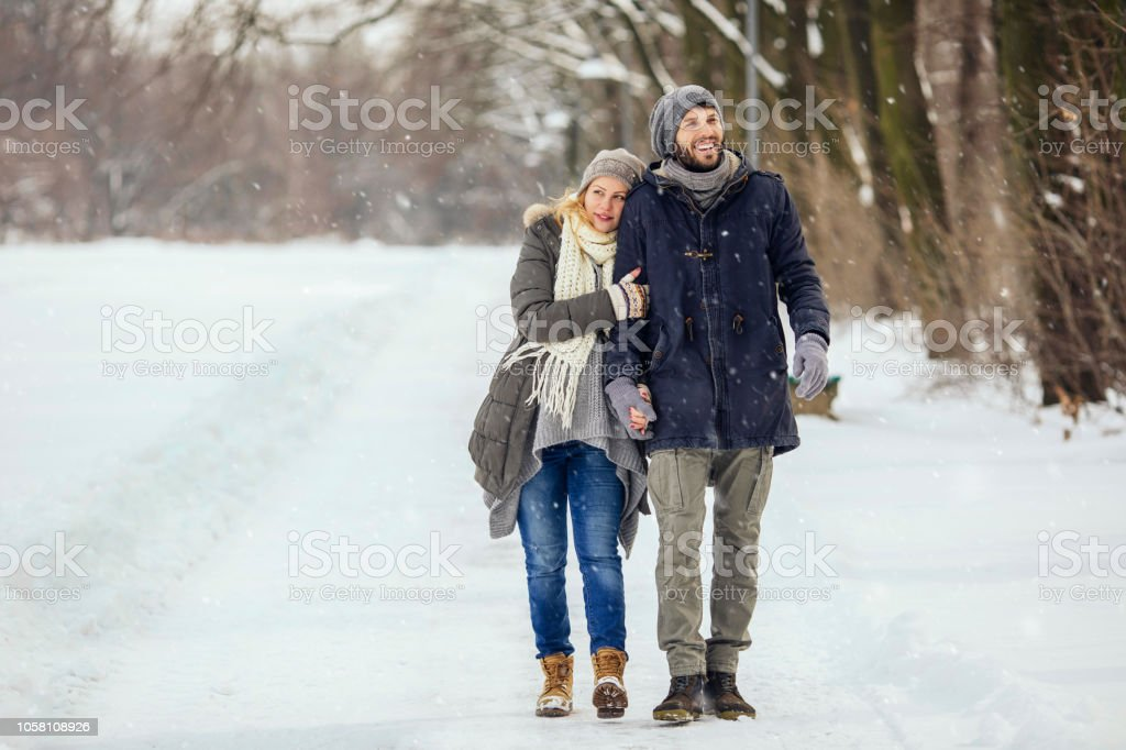 Romantic winter day stock photo