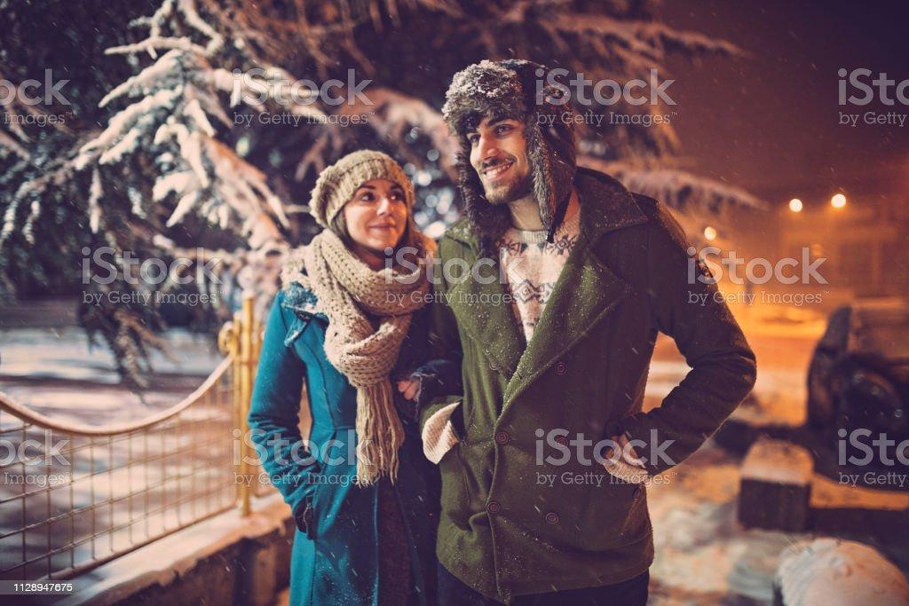Romantic winter walk stock photo