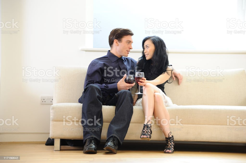 Romantic young couple at home royalty-free stock photo