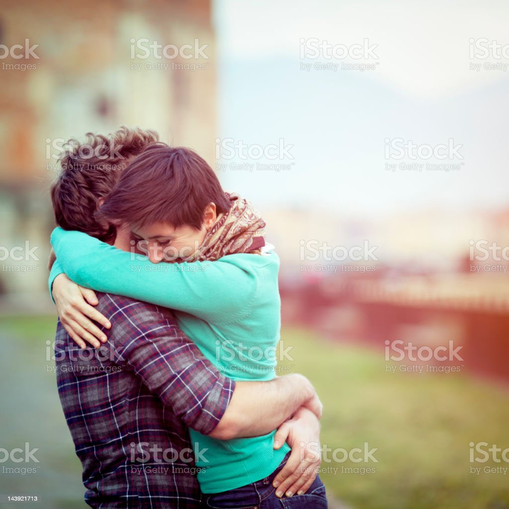 Romantic young couple hugging royalty-free stock photo