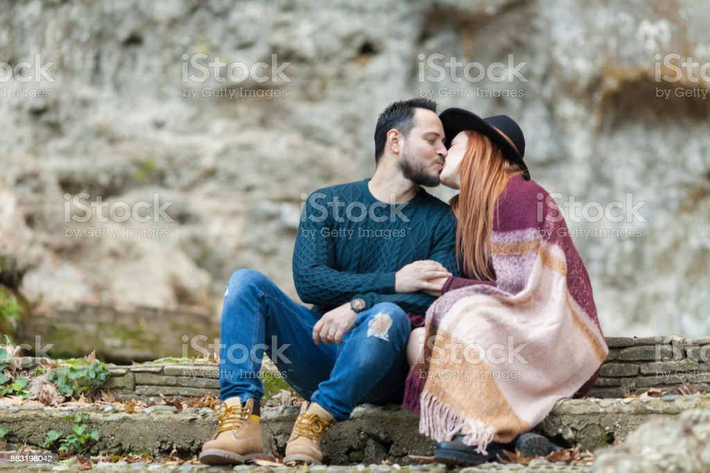 Romantic Young Couple Kissing On A Footstep Stock Photo More