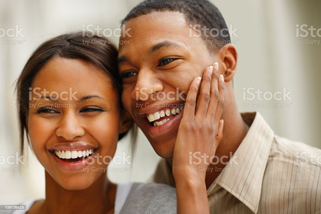 Romantic young couple laughing royalty-free stock photo