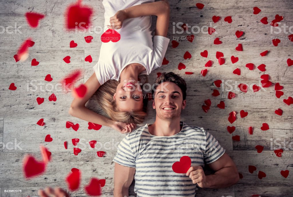 Romantic young couple stock photo