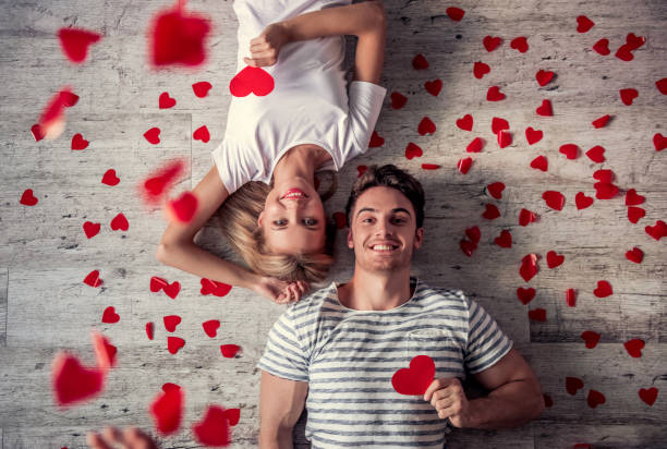 romantic young couple - boyfriend stock photos and pictures