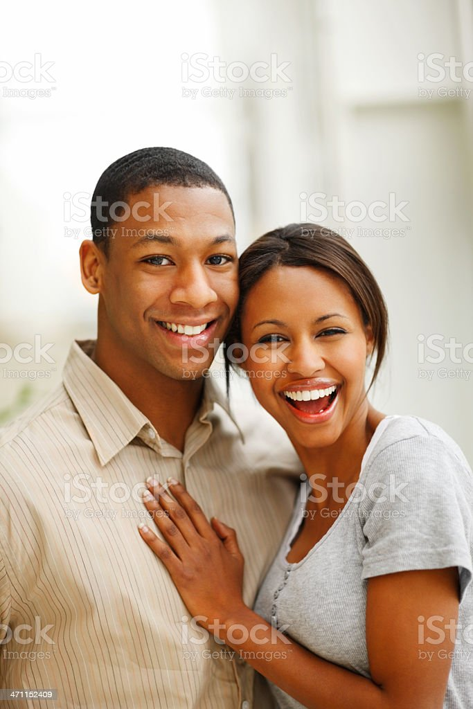 Romantic young couple smiling royalty-free stock photo