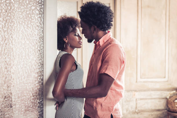 romantic young cuban couple in Havana stock photo