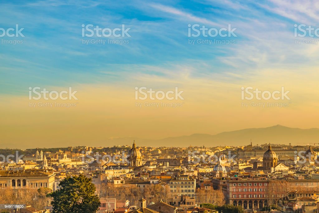 Rome Aerial View from Gianicolo District stock photo