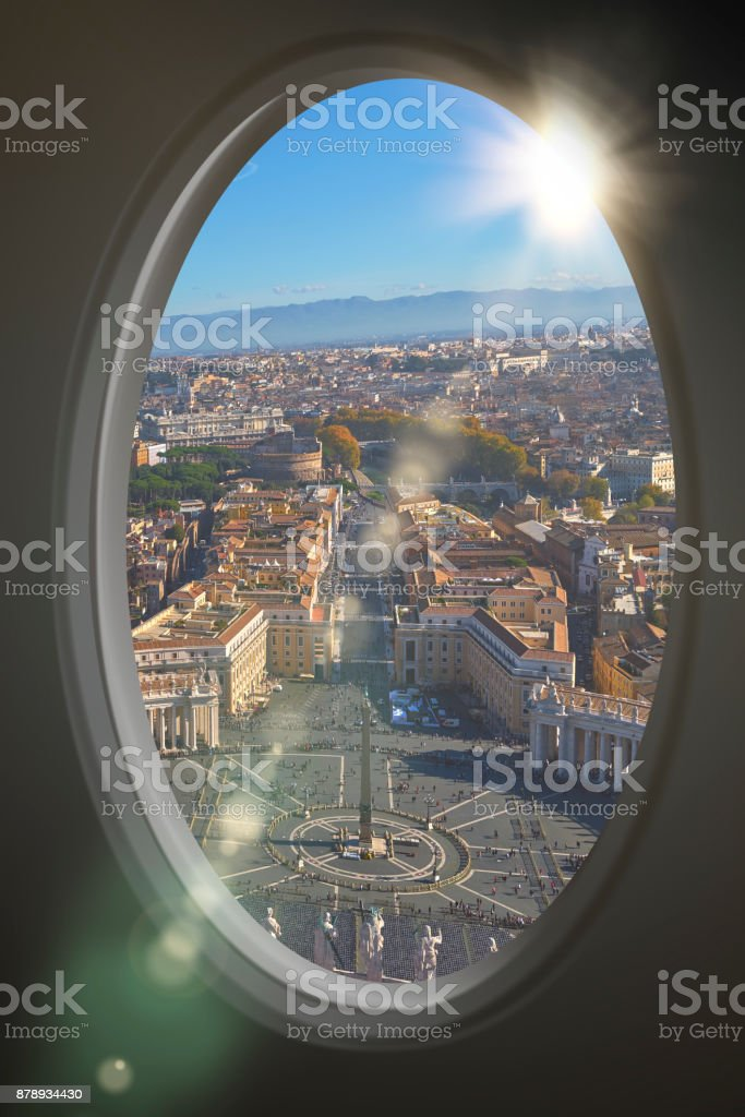 Rome aerial view from the porthole stock photo
