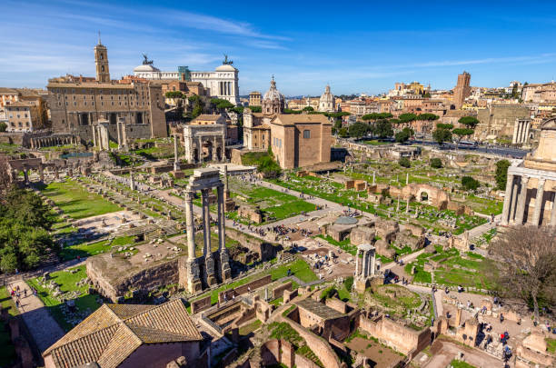 Rome ancient Roman Forum temples tourists Palatine Hill panorama Italy aerial view of Roman Forum from palantine hill, Rome. Italy palatine hill rome stock pictures, royalty-free photos & images