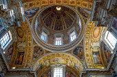Rome, Italy - July 20, 2018: The vault and dome over the Sistine chapel of the Santa Maria Maggiore Basilica