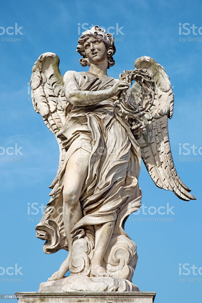 Rome - Angel with the crown of thorns stock photo