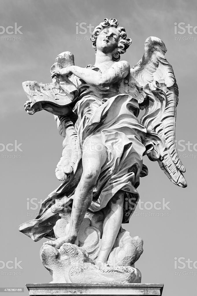 Rome - Angel with the superscription by Gian Lorenzo Bernini stock photo