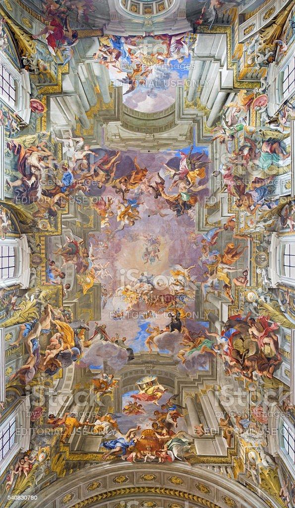 Rome -  Apotheosis of St Ignatius in Sanit Ignace church stock photo