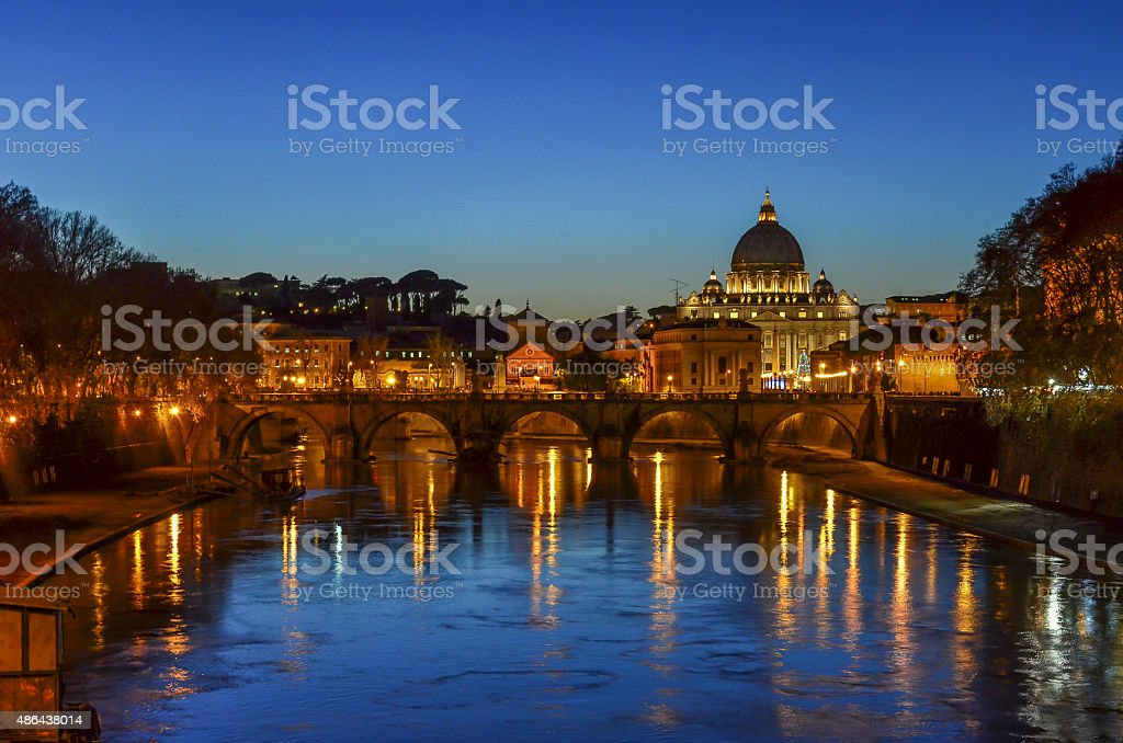 Rome at dusk, Italy stock photo