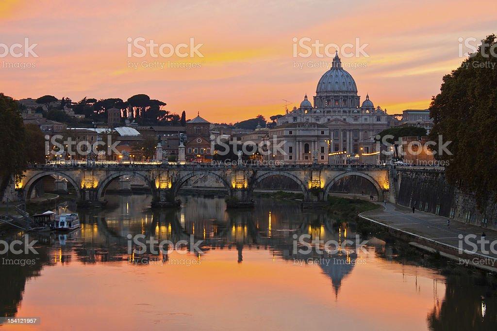 Rome at dusk. stock photo