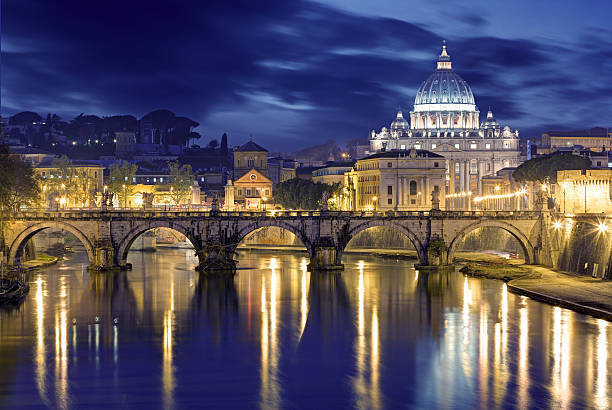 rome at dusk: st. peter's basilica in reflection - peter the apostle stock photos and pictures